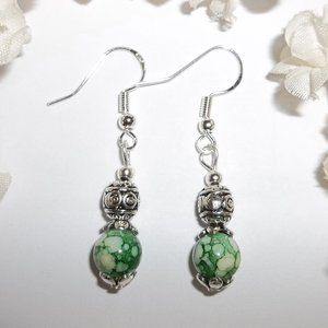 Beaded Earrings Set Handmade Funky Green NWT 4159